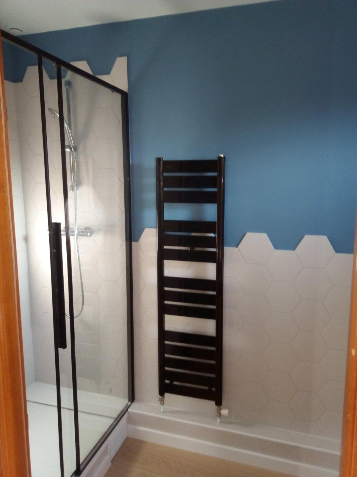 Salle de bains bleu blanc Maisons Alfort